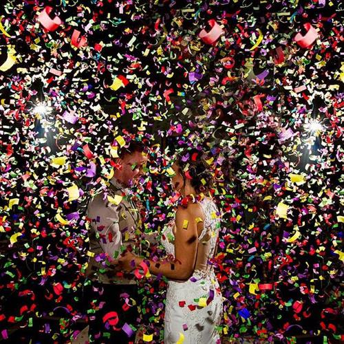 Wedding day confetti cannon