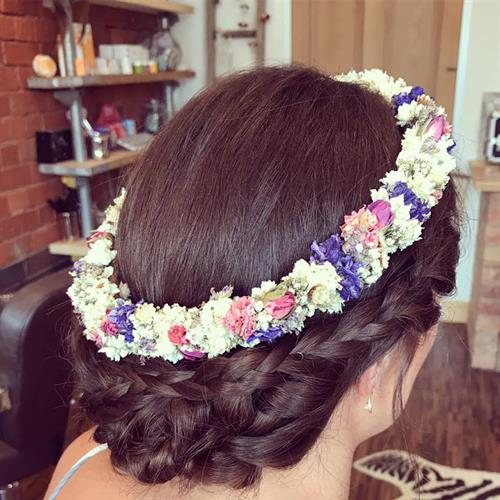 Flower Halo. The ultimate in boho bridal hair