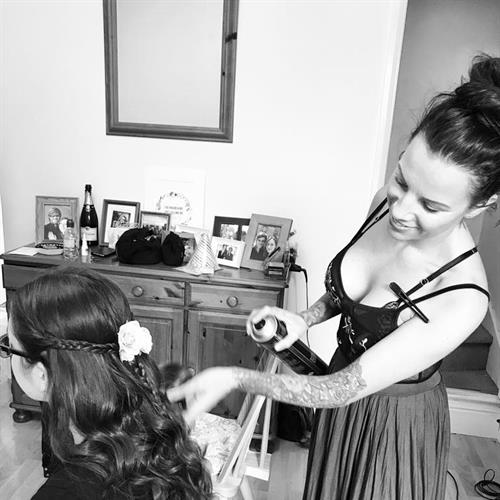 Bridesmaid hair being done by Suezanna Ward