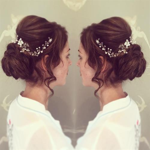 Boho bridal hair complete with pretty bridal hair vine