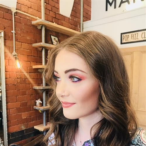 Colour, pop, fun make up by Make My day Make Up Studio for a glam night out.
