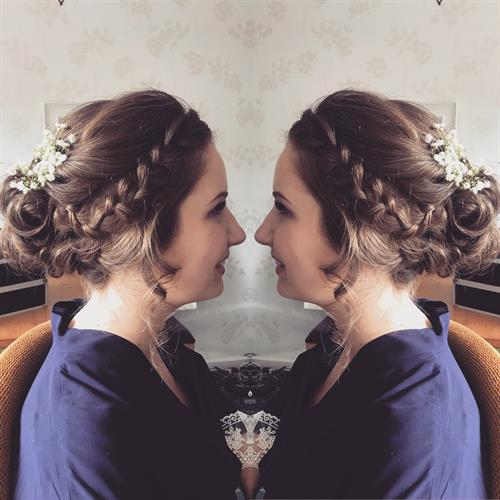 Boho bridal hair by Suezanna Ward at Make My Day Make Up Studio Warwickshire.