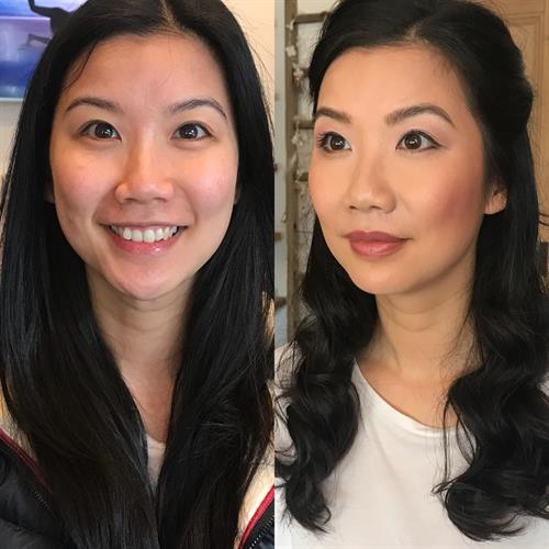 Before and after bridal make up at Make My Day Make Up Studio.
