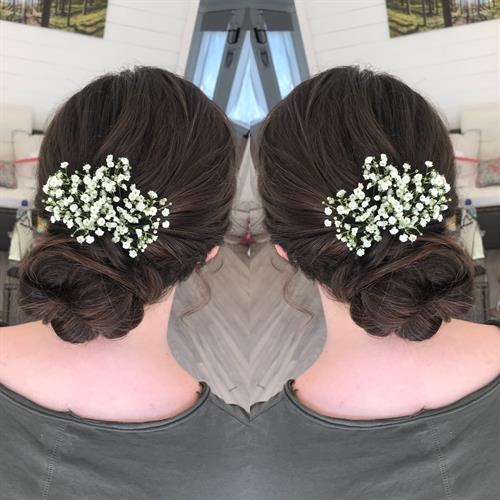 Brunette bridesmaid messy bun at Make My Day Make Up Studio.