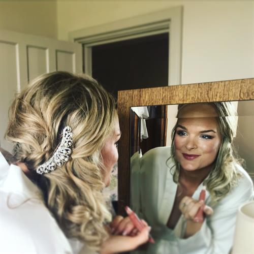 Happy bride on her wedding day. Hair and make up by Make My Day Make Up Studio, Kenilworth Warwickshire.