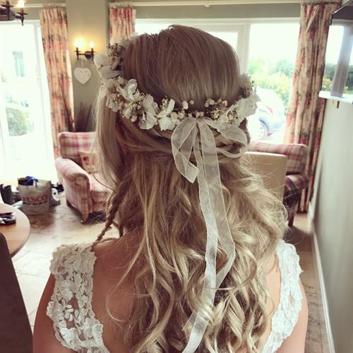 Gorgeous flower crown for our beautiful boho bride. Bridal hair by Make My Day Make Up Studio