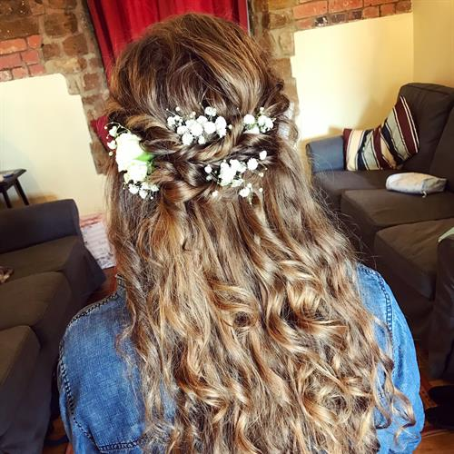 Long curly boho bridesmaid hair