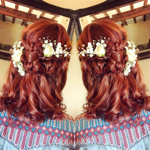 Copper bridesmaid hair