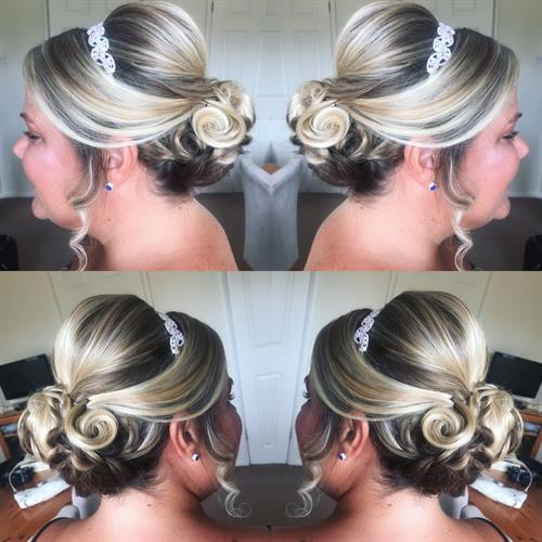 Sleek bridesmaid up do by Suezanna Ward at Make My Day