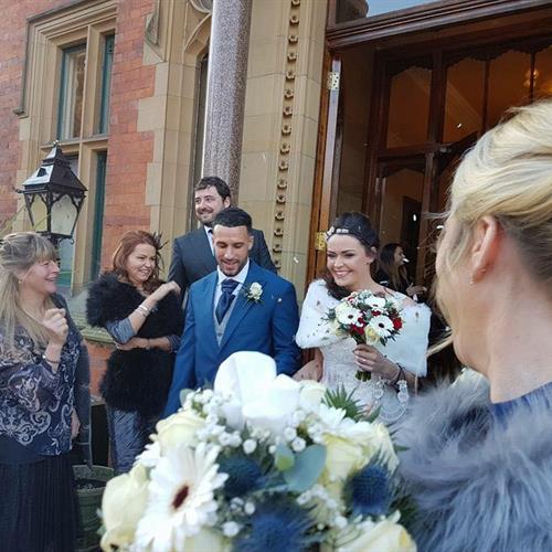 Bride and Groom. Happy couple on their wedding day at Wroxhall Abbey. Bridal hair and make up by Make My Day Make Up Studio