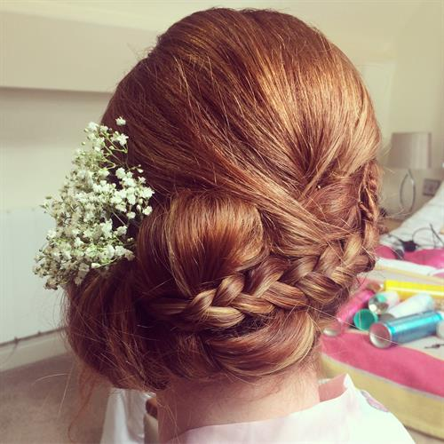 Plaited up do with added gypsophilia