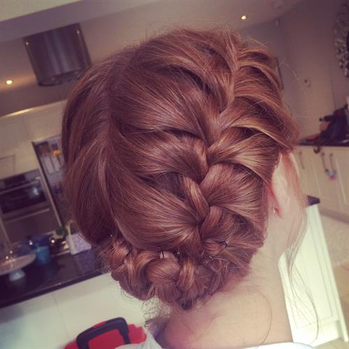 French plaited boho up do
